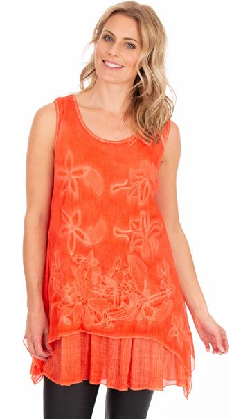 Sleeveless Embroidered Layer Top - Deep Coral