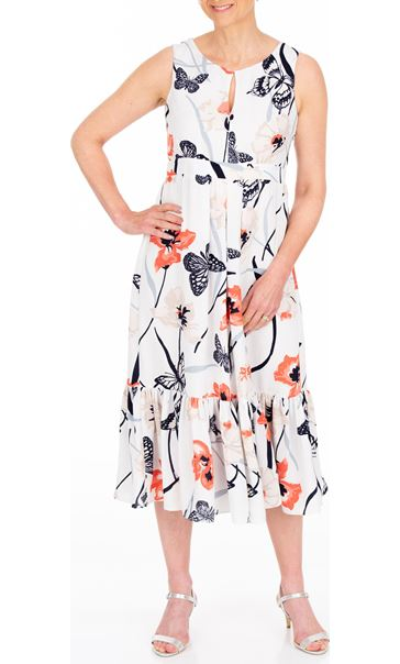 Anna Rose Butterfly And Floral Print Midi Dress Ivory/Coral