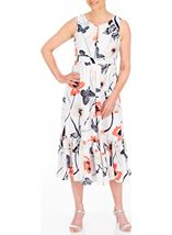 Anna Rose Butterfly And Floral Print Midi Dress Ivory/Coral - Gallery Image 1