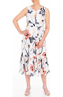Anna Rose Butterfly And Floral Print Midi Dress
