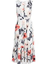 Anna Rose Butterfly And Floral Print Midi Dress Ivory/Coral - Gallery Image 2