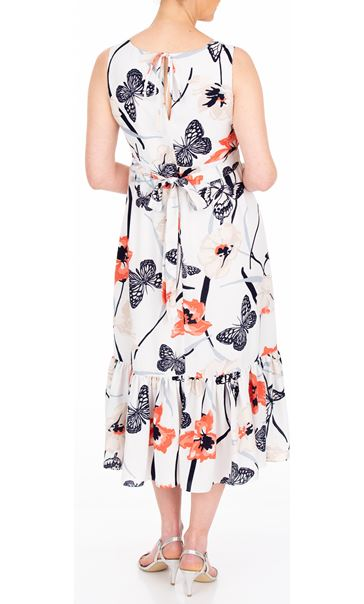 Anna Rose Butterfly And Floral Print Midi Dress Ivory/Coral - Gallery Image 3