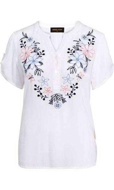 Anna Rose Embroidered Crinkle Top White