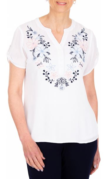 Anna Rose Embroidered Crinkle Top White - Gallery Image 2