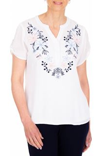 Anna Rose Embroidered Crinkle Top