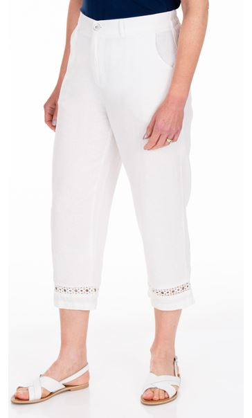 Anna Rose Cropped Linen Blend trousers White