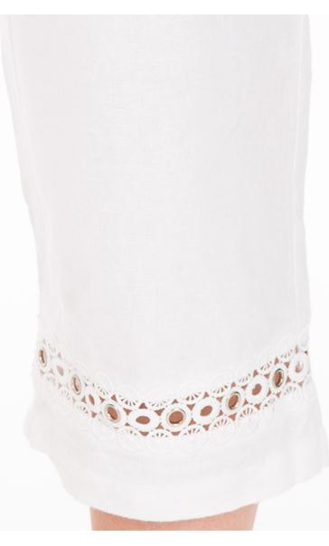 Anna Rose Cropped Linen Blend trousers White - Gallery Image 3