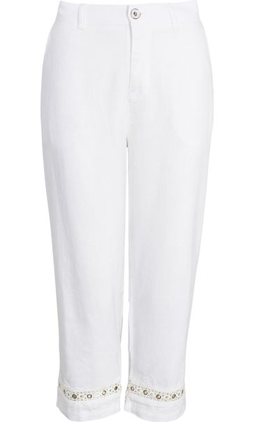 Anna Rose Cropped Linen Blend trousers White - Gallery Image 4