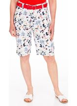 Anna Rose Floral Printed Belted Shorts White/Multi - Gallery Image 1