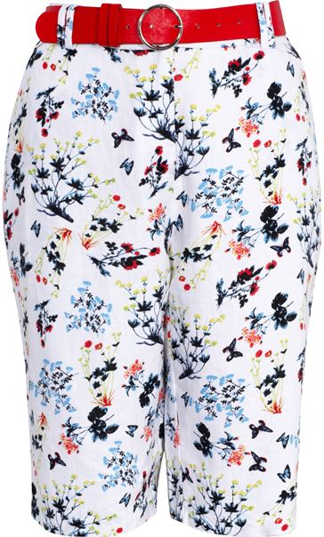 Anna Rose Floral Printed Belted Shorts White/Multi - Gallery Image 3