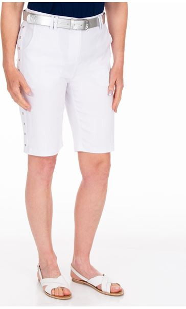 Anna Rose Belted Stretch Shorts White