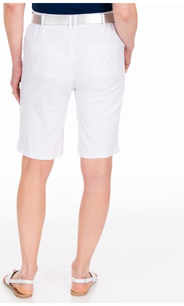 Anna Rose Belted Stretch Shorts White - Gallery Image 2