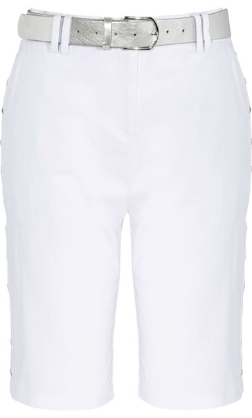 Anna Rose Belted Stretch Shorts White - Gallery Image 3