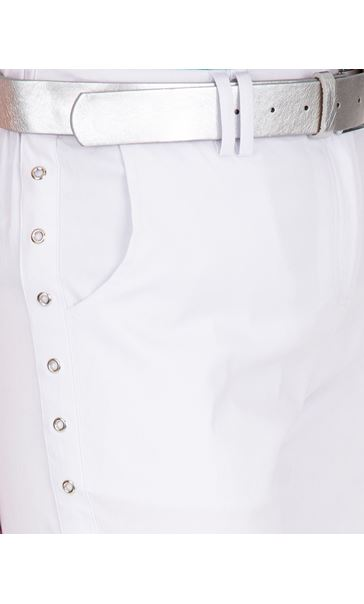 Anna Rose Belted Stretch Shorts White - Gallery Image 4