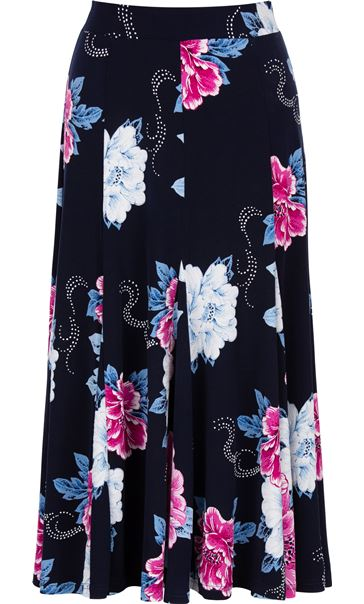 Anna Rose Floral Print Panelled Midi Skirt Midnight/Hot Pink
