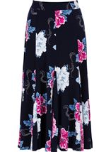 Anna Rose Floral Print Panelled Midi Skirt Midnight/Hot Pink - Gallery Image 1