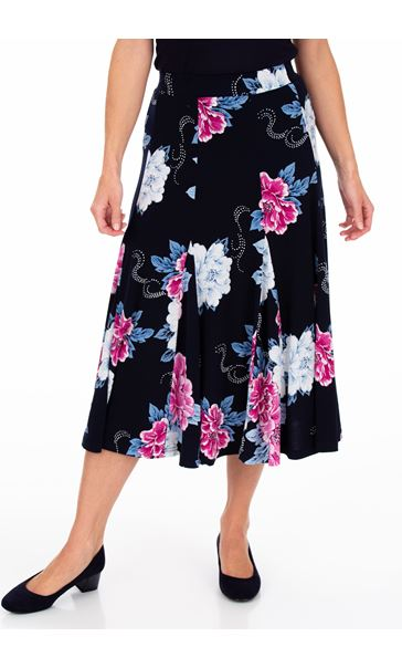 Anna Rose Floral Print Panelled Midi Skirt Midnight/Hot Pink - Gallery Image 2
