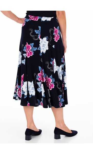 Anna Rose Floral Print Panelled Midi Skirt Midnight/Hot Pink - Gallery Image 3