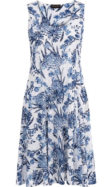 Anna Rose Floral Print Textured Sleeveless Dress White/Blue