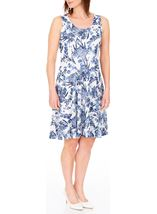 Anna Rose Floral Print Textured Sleeveless Dress White/Blue - Gallery Image 2