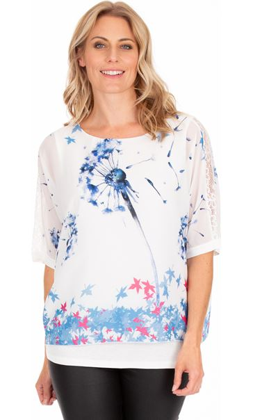 Printed Loose Fitting Top Ivory/Dutch Blue