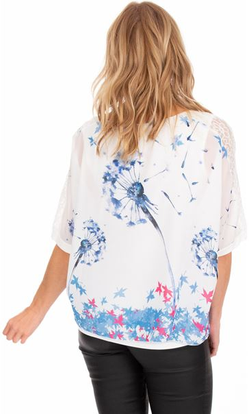 Printed Loose Fitting Top Ivory/Dutch Blue - Gallery Image 2