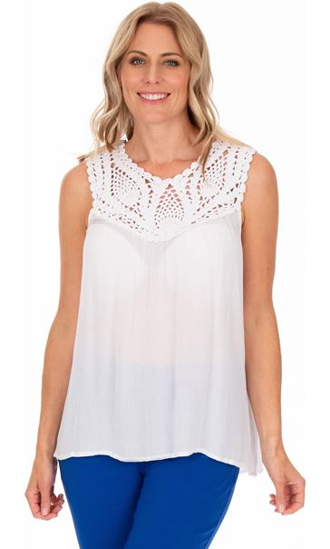 Crochet Trim Sleeveless Top White