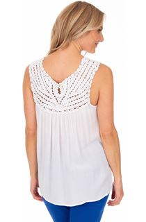 Crochet Trim Sleeveless Top - White