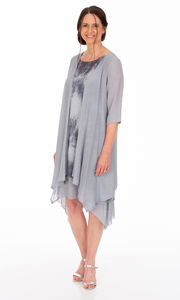Crinkle Open Cover Up Grey