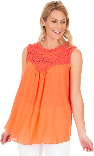 Ribbon Trimmed Sleeveless Crinkle Top Papaya - Gallery Image 1