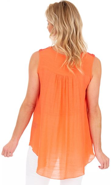 Ribbon Trimmed Sleeveless Crinkle Top Papaya - Gallery Image 2