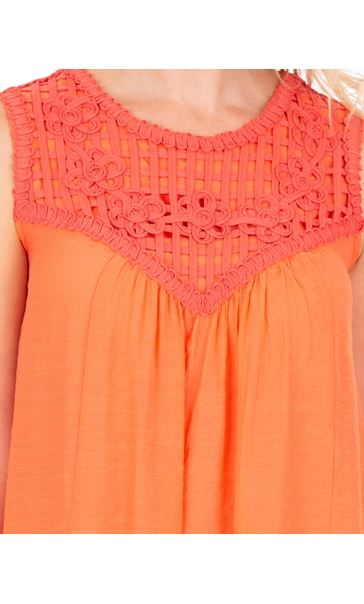 Ribbon Trimmed Sleeveless Crinkle Top Papaya - Gallery Image 3
