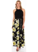 Sleeveless Floral Print And Plain Maxi Dress Black/Lemon - Gallery Image 1