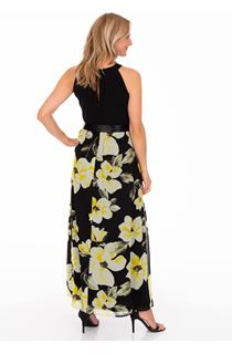 Sleeveless Floral Print And Plain Maxi Dress