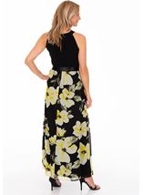 Sleeveless Floral Print And Plain Maxi Dress Black/Lemon - Gallery Image 2