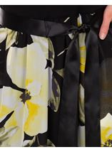 Sleeveless Floral Print And Plain Maxi Dress Black/Lemon - Gallery Image 3