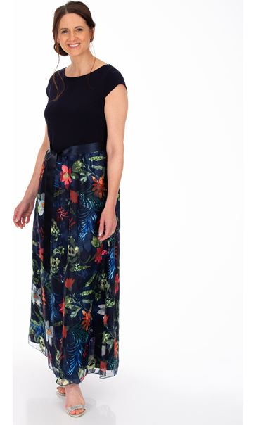 Printed Mesh And Embroidered Maxi dress Navy Multi