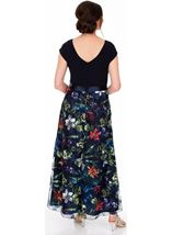 Printed Mesh And Embroidered Maxi dress Navy Multi - Gallery Image 2