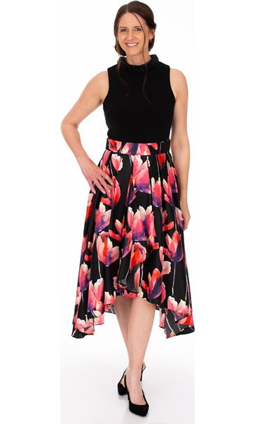 Embellished Fit and Flare Sleeveless Dress Black/Pink