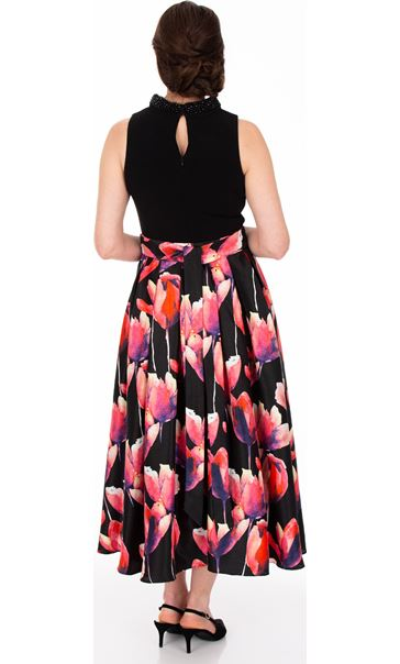 Embellished Fit and Flare Sleeveless Dress Black/Pink - Gallery Image 2