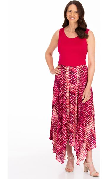 Sleeveless Hanky Hem Maxi Dress Cerise