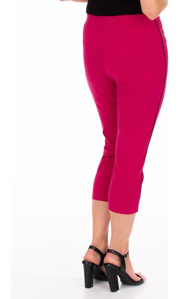 Side Stripe Cropped Stretch Fitted Trousers