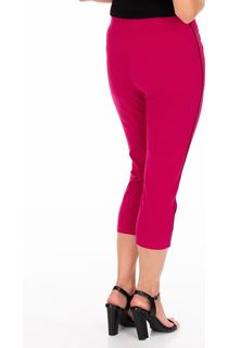 Side Stripe Cropped Stretch Fitted Trousers - Cerise
