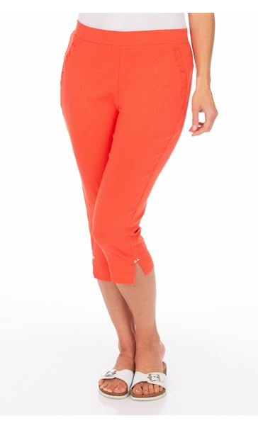 Fitted Cropped Stretch Trousers Papaya