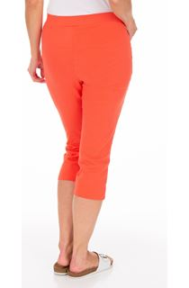 Fitted Cropped Stretch Trousers - Papaya