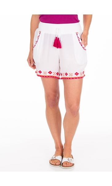 Embroidered Crinkle Shorts White/Cerise
