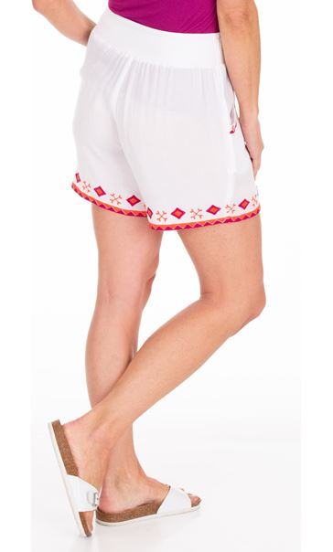 Embroidered Crinkle Shorts White/Cerise - Gallery Image 2