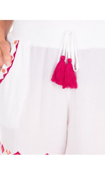 Embroidered Crinkle Shorts White/Cerise - Gallery Image 3