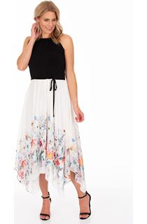 Floral Border Print Maxi Dress