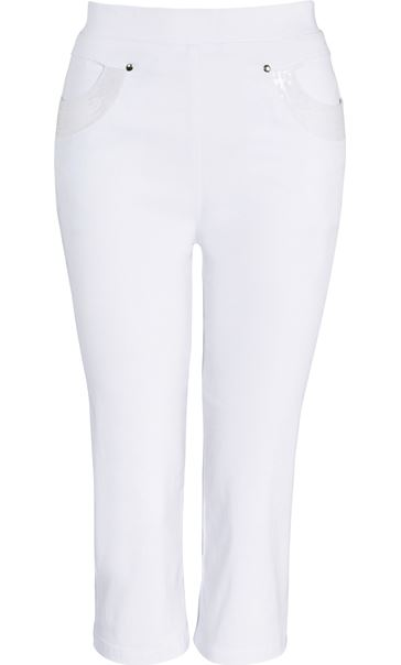 Anna Rose Pull On Cropped Trousers White